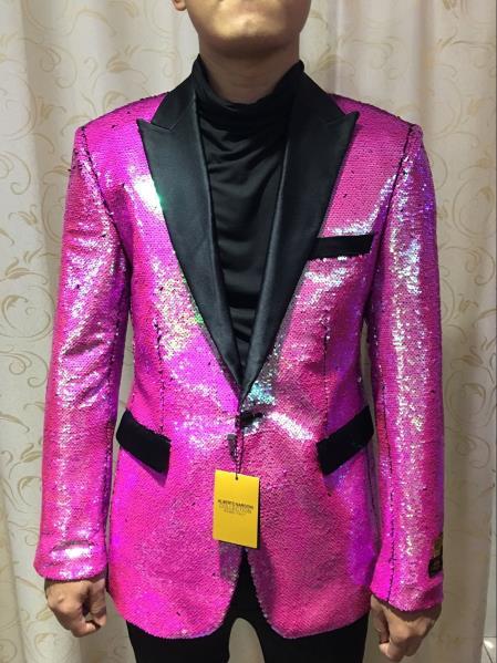Alberto Nardoni Brand  Fuchsia ~ Hot Pink Shiny (Wholesale Price $95) Shiny Flashy paisley blazer mens