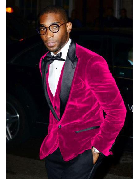 Alberto Nardoni Brand Mens Fuchsia Velvet Tuxedo Blazer ~ Sport coat