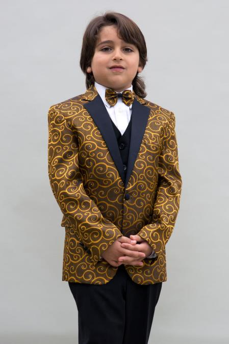 Mens Single Breasted Gold Colored Notch Lapel Boys Blazer ~ Sport coat + Jacket only