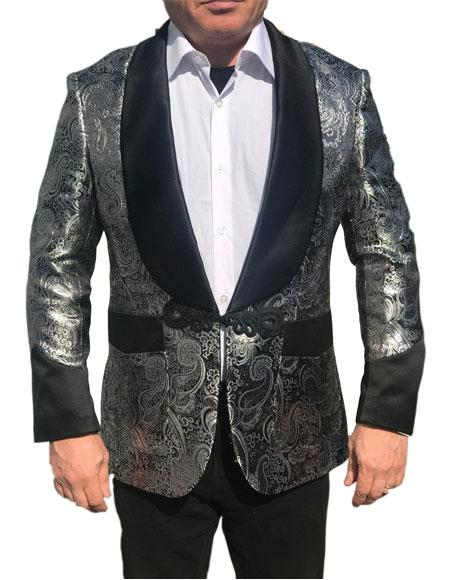 Alberto Nardoni Brand Menss Shawl Collar Fancy Sharkskin Chinese Style Party Blazer in Silver Paisley