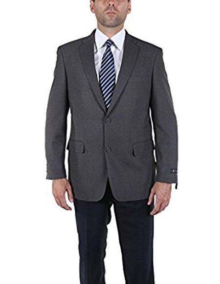 Men's Classic 2 Button Gray Blazer Suit Jacket