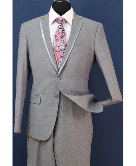 SKU#GD1707 Mens Two Toned And Fashion Gray Trim Lapel Wedding / Prom / Homecoming Tuxedo Vested 3 Pieces