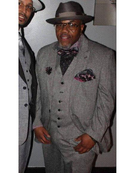 SKU#CH2327 Mens Single Breasted tuxedo gray vested suit