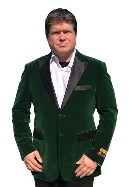 Men's Big And Tall Blazers Velvet ~ Velour Clearance Cheap Priced Green Blazer / Sport Coat
