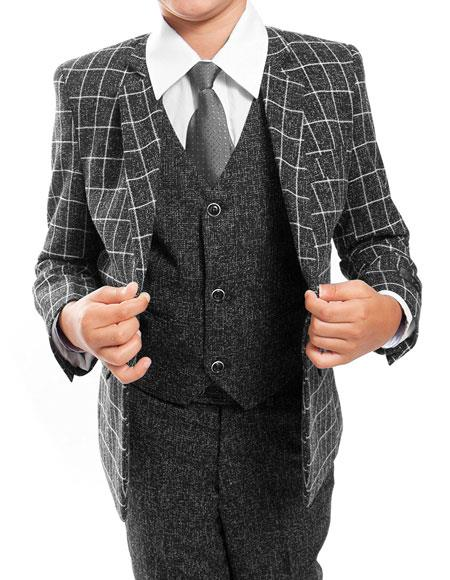 Boys ~ Kids ~ Children Toddler Plaid ~ Windowpane Pattern Kids Sizes Vested Grey/Black Suit Perfect for toddler wedding  attire outfits 3 Peice Matching Shirt & Tie