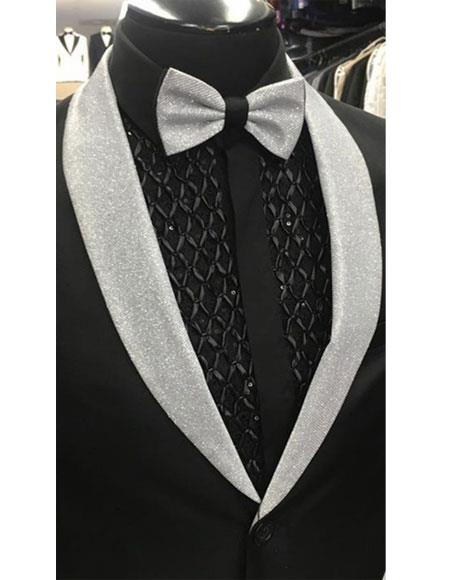 Men's single button closure silver shawl collar besom chest pocket attractive black overcoat