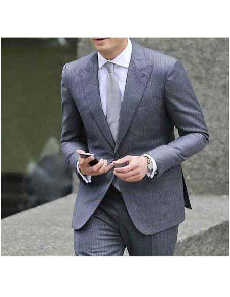 Buy GD1142 Men's Christian Single Breasted Grey Two Button Fully Lined Peak Lapel Suit