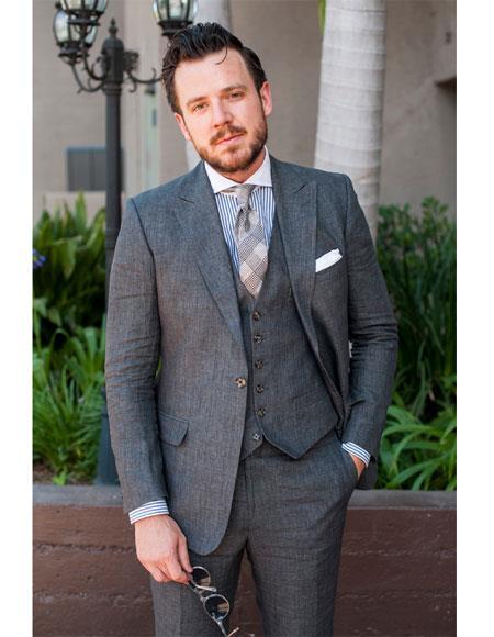 Men's 3 Piece  Grey Peak Lapel Linen Slim Fit Suits