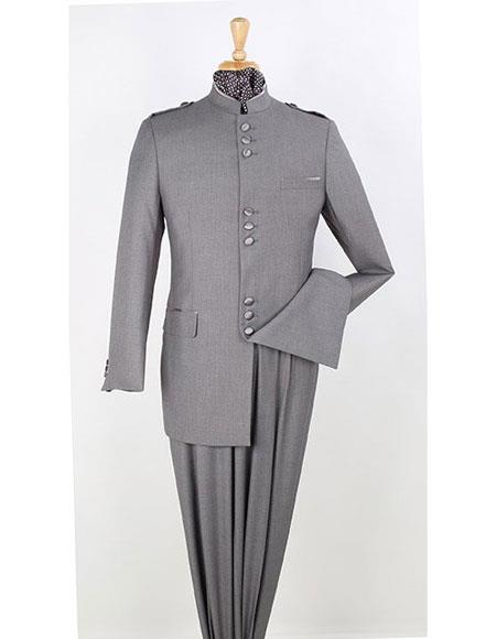 Mens Mandarin Collar 2 Piece Nehru Style Grey Poly-Rayon Suit