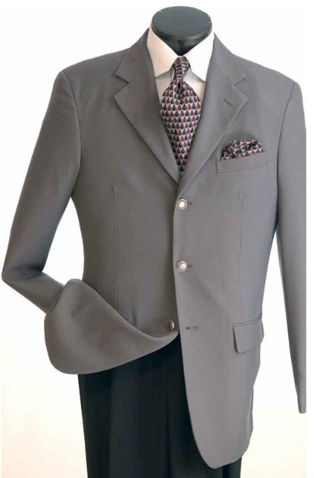 SKU#VM640 Mens Classic Single Breasted Grey Blazer