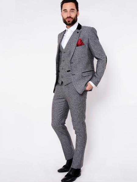 VICTOR - Grey Herringbone Tweed Three Piece Suit