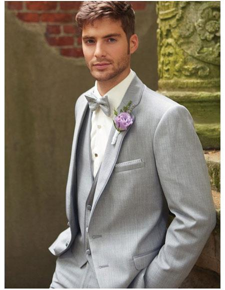 Mens Grey  2 Button Vest Suit