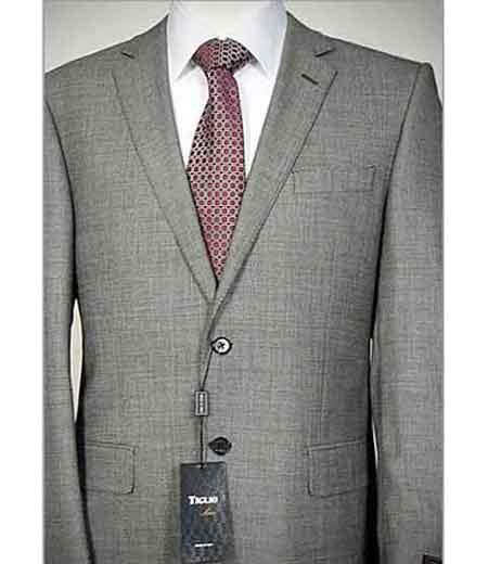 d5d11fb02e Men's Grey Italian 2 Piece Single Breasted Birdseye Notch Lapel Wool Suit