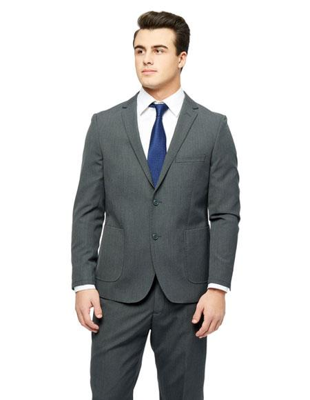 West End Men's Checked Pattern  Young Look Grey Wool Feel Slim Fit Suit