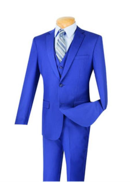 Men's Indigo ~ Bright Blue 3 Piece 100% Wool Executive Suit - Narrow Leg Pants