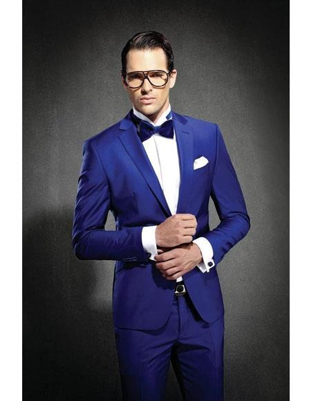 Mens Royal ~ Indigo ~ Bright Blue ~ Cobalt New Blue Slim Fit Notch Lapel Dress Suits for Men