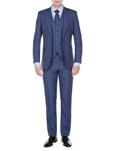 Mens Indigo ~ Bright Blue Plaid checkered check pattern suit Single Breasted 2 Button Notch Lapel Modern-Fit Suits