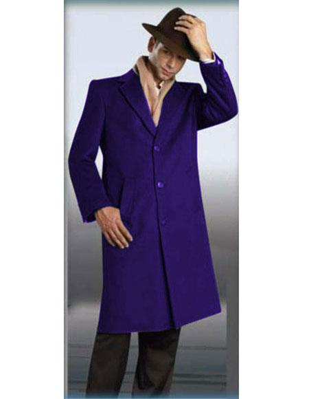 Mens Authentic Alberto Nardoni Brand Indigo ~ Bright Blue Full Length Coat Long Mens Dress Topcoat -  Winter coat