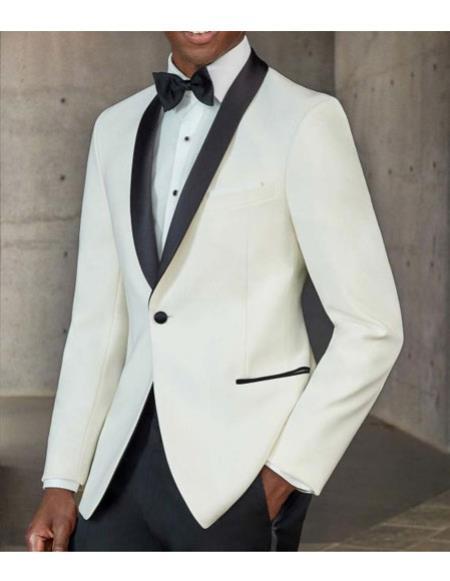 Buy CH2354 Mens One Button Tuxedo Shawl Black Lapel classy Ivory Suit