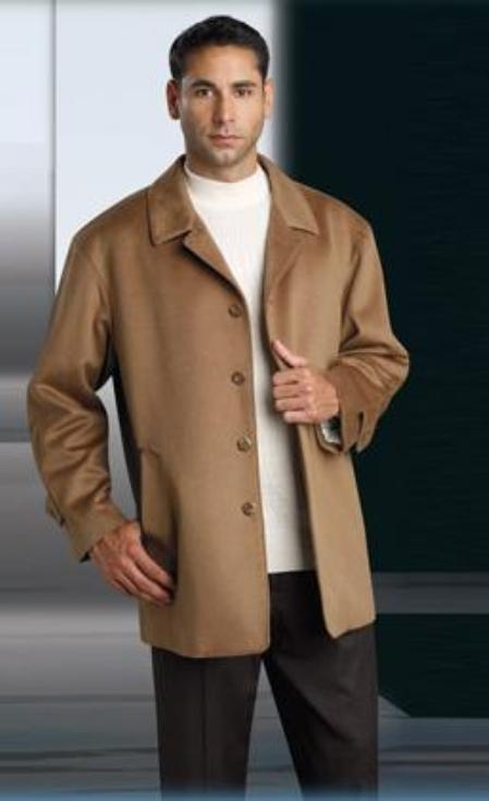 SKU#MUCoat07 Wool&Cashmere Single Breasted 3 Button Notch Lapel Camel ~ Khaki Color Suit