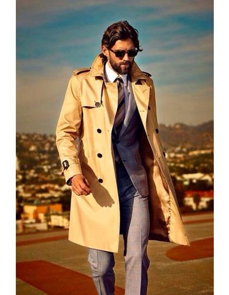 Men's high fashion flip up collar khaki trenchcoat