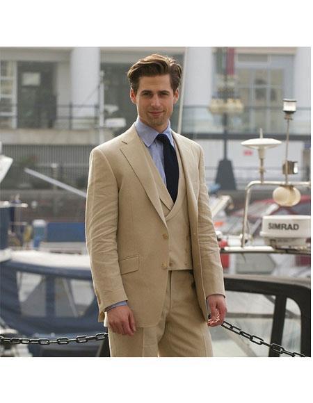 Buy GD579 Alberto Nardoni Brand Men's Single Breasted Khaki/Khaki ~ Tan Formal Tuxedo Simple Prom Custom Made Blazer 3 Piece Wedding Suits