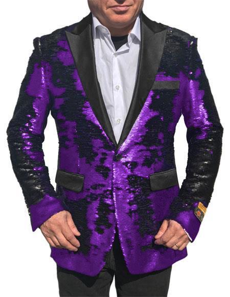Fashion Alberto Nardoni Shiny Sequin Tuxedo Black Lapel paisley look sport jacket ~ coat