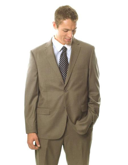 Caravelli Men's Classic Fit  Light Brown 2 Button Suit
