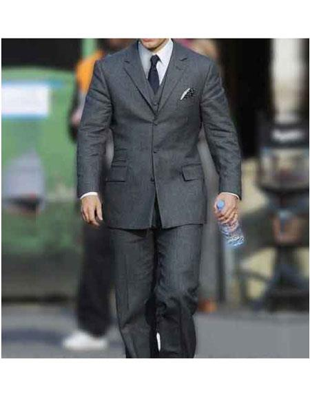 Mens Henry Cavill Single Breasted Three Button Light Grey Notch Lapel Suit