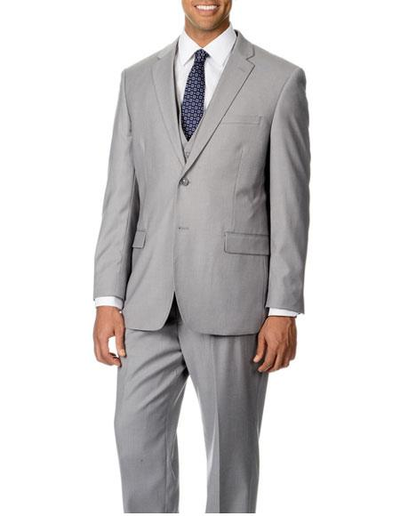 Caravelli Mens Single Breasted 2 Button Light Grey Notch Lapel Modern Fit Suit