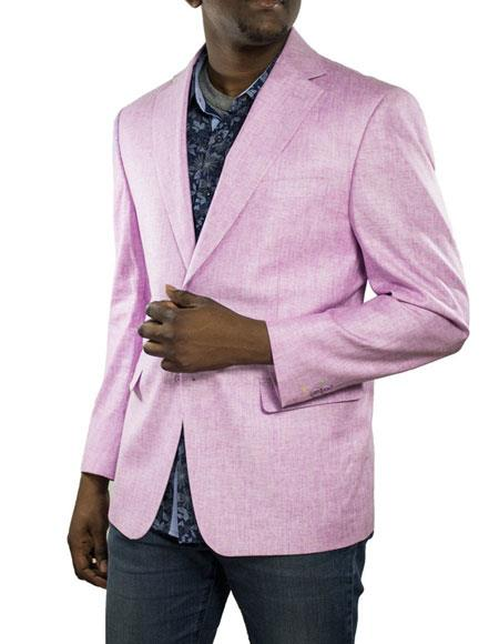 Alberto Nardoni Brand Mens Lilac One Ticket Pocket Thread & Stitch 100% Linen Blazer