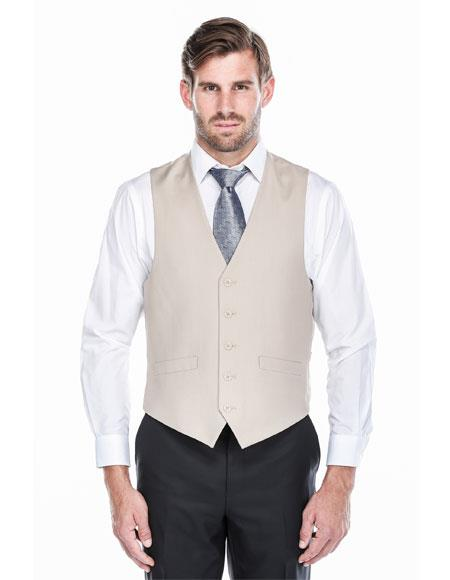 Mens Tan Classic Fit 5 Button Single Breasted Fully Lined Vest