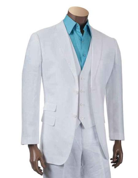Mens Two Buttons Linen fashion vested White 3 piece suit