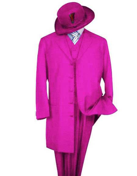Alberto Nardoni Men's Classic Long Hot Pink ~ Fuchsia  Fashion Zoot Suit (Wholesale Price available)