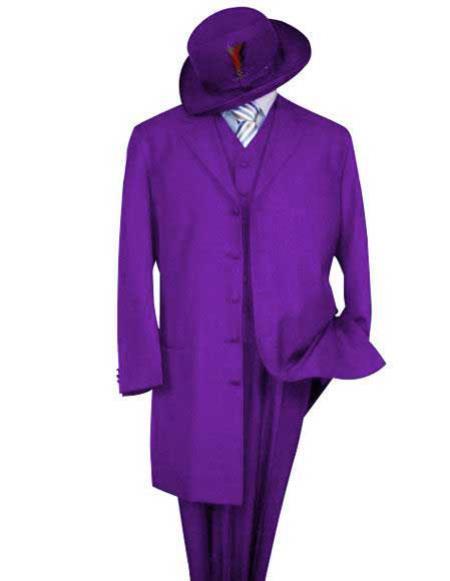 Alberto Nardoni Men's Classic Long Fashion Purple Zoot Suit (Wholesale Price available)