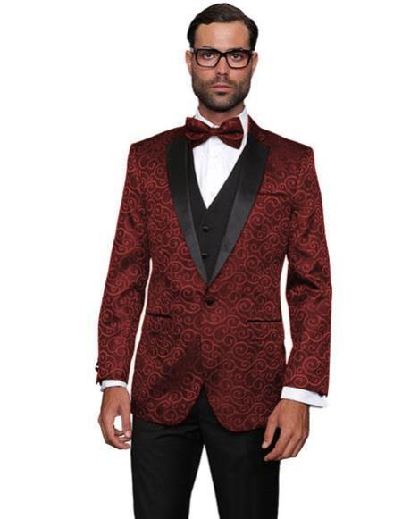 Mens Floral Suit Unique Paisley Suit Dress Tuxedo Wedding Vest & Pants  Shiny Flashy Silky Satin Stage Fancy Stage Party Maroon Suit  ~ Burgundy ~ Wine ~ Maroon Suit  Two Toned Tuxedo Burgundy Suit