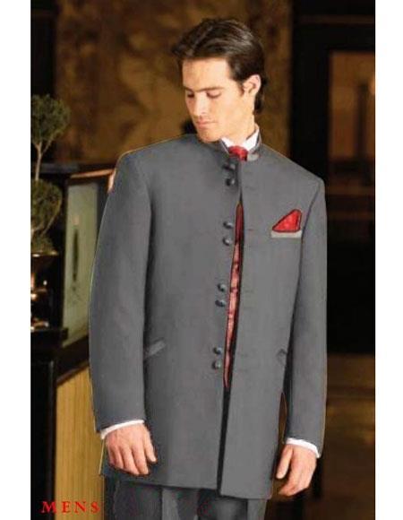Buy M782GA Men's Mandarin Tuxedo Single Breasted Medium Grey Suit