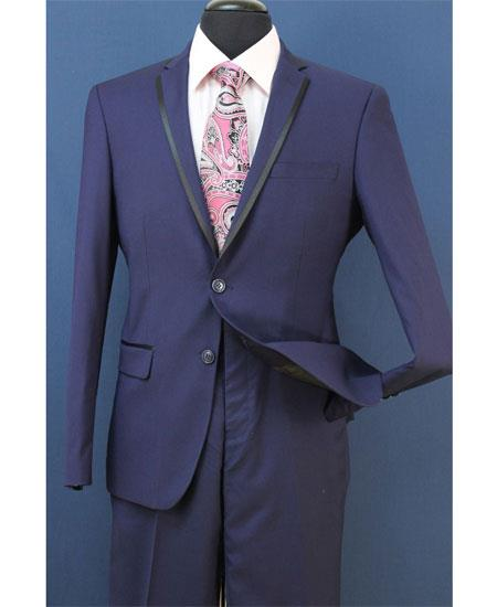 Mens Midnight Blue Two Toned And Fashion Trim Lapel Wedding / Prom / Homecoming Tuxedo Vested 3 Pieces