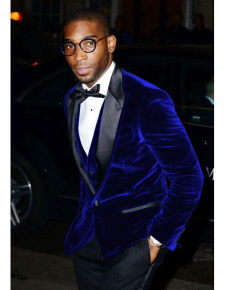 Mens Velvet Tuxedo Navy Blue Jacket ~ Sport coat