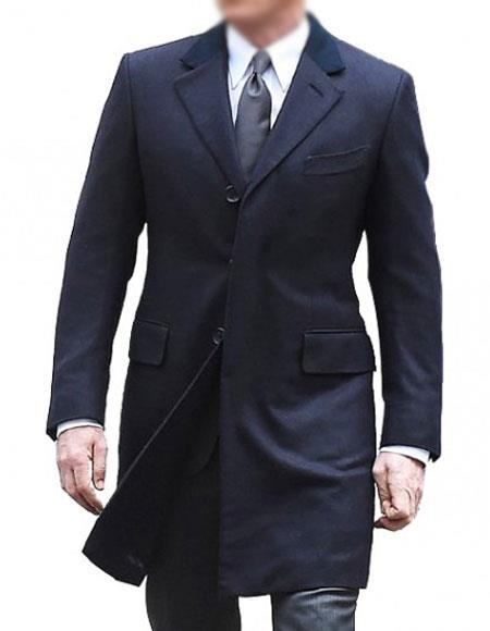 Men's Single Breasted Cotton Navy Blue coat