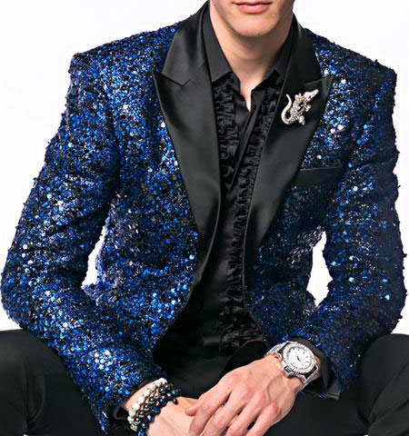 Alberto Nardoni Brand Fashion Mens Sequin paisley Royal Blue ~ Black Dinner Jacket Tuxedo Blazer Glitter Sparkly Sport Coat