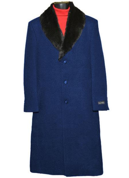 Buy Coat-03SM4439 Men's (Removable ) Fur Collar Single Breasted 3 Button Wool Full Length Overcoat ~ Topcoat 65% Wool full length Fabric Also Navy Blue