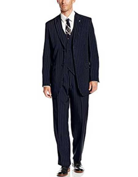 Men's 3 Piece Peak Lapel Polyester Pinstripe Big & Tall Dark Navy Blue Suit For Men