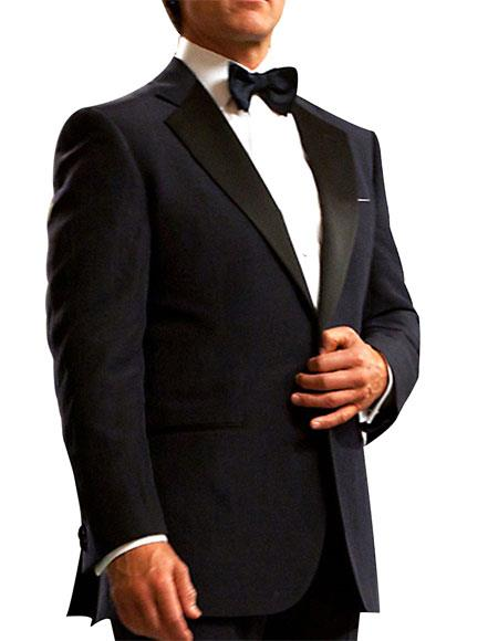 Mens Dark Navy Blue Single Breasted 1 Button Notch Lapel Tuxedo Suit