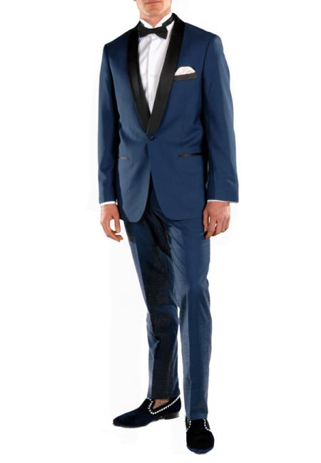 Men's Shawl Lapel 2 Piece  Slim Fit Dark Navy Blue Suit For Men Tuxedo Suit Indigo ~ Bright Blue ~ Cobalt blue ~ Teal