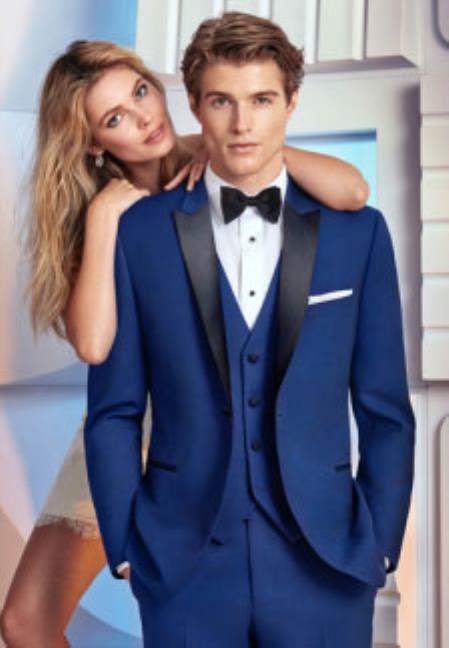 Buy SM4924 Men's Navy Blue Satin Peak Lapel 1 Button Single Breasted Vested Tuxedo