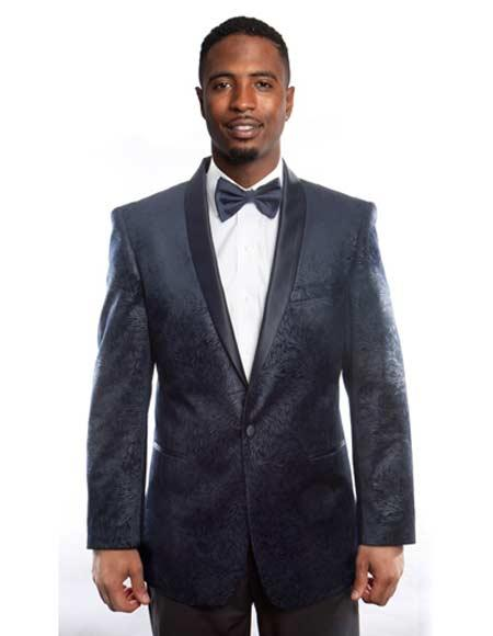 Mens Empire Cheap Priced Designer Fashion Dress Casual Blazer On Sale Satin Shawl Lapel Side Vents Navy Blazer
