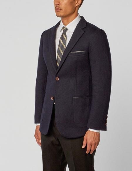 Buy CH599 Enzo Tovare Authentic Brand Men's Navy Single Breasted Notch Lapel Double Vent Two Piece Montana Jacket