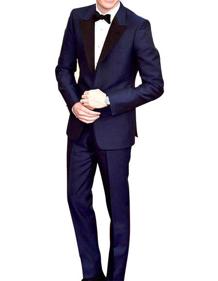 Mens Navy Peak Lapel Single Breasted 1 Button Slim Fit Tuxedo