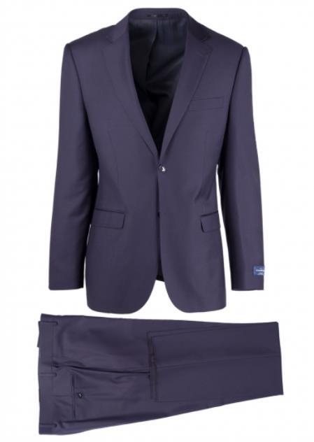 Buy SM4707 Men's Navy Notch lapel Fully Lined 2 Button Slim Fit Sangria Suit